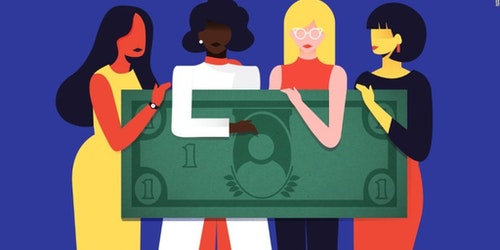a graphic with a different color of skin woman holding a dollar bill