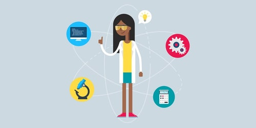 a graphic design with a girl standing in the centre with glass on and genius bar circle around her