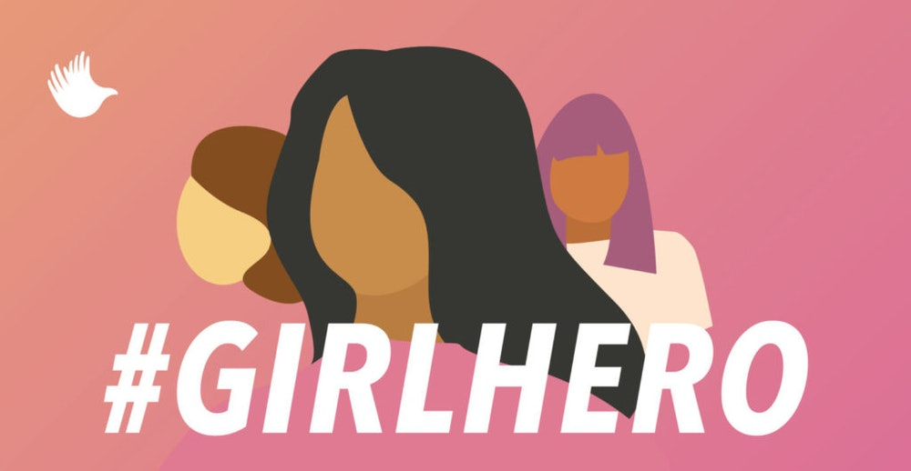 #girlhero graphic design with 3 different colors of girls faces