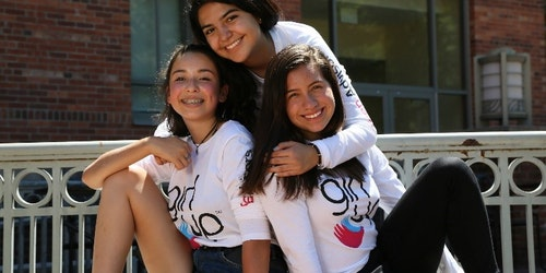 3 girl up girls wearing girl up teen advisor t-shirt