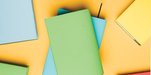 color graph design with green and blue book