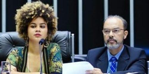 Latin-America Girl Up member speaking on a panel (closer shot)